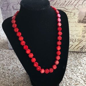 Jewelry - Red coral hexagon shaped beaded string necklace